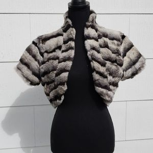 Arden B 100% rabbit fur mini coat